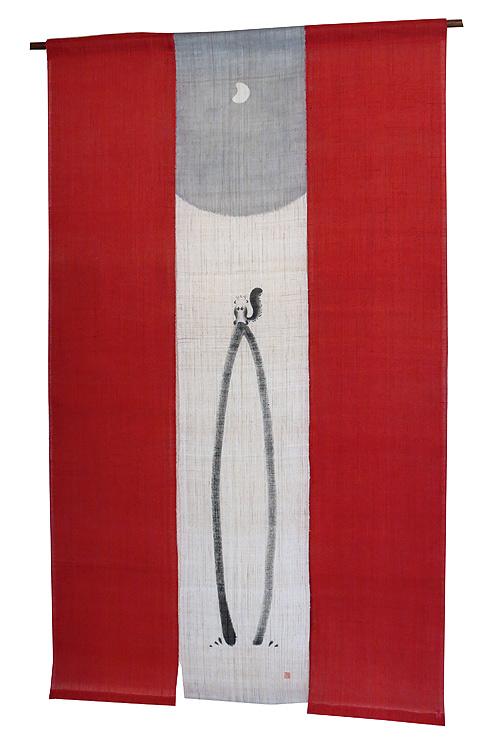 羅工房3連 暖簾(和風麻 のれん)・りす(受注製作30日間)