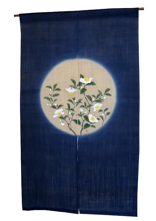 羅工房 暖簾(和風 麻 のれん)・お茶の花(受注製作3週間)