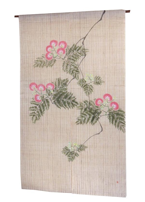羅工房 暖簾(麻のれん)・歓喜の花(受注製作) のれん棒別売り