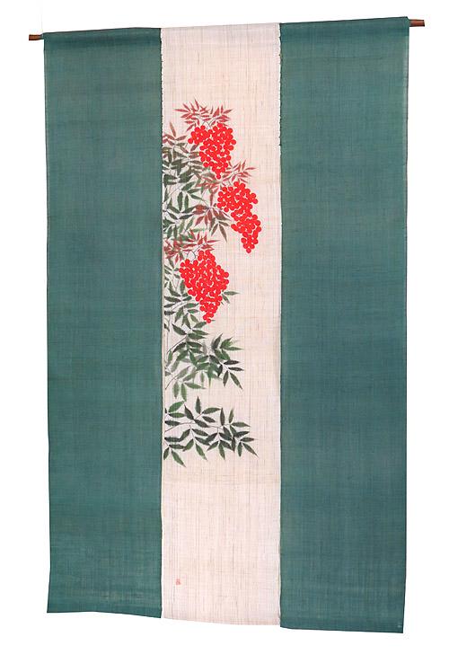 羅工房3連 暖簾(和風麻 のれん)・紅南天 / 冬 のれん