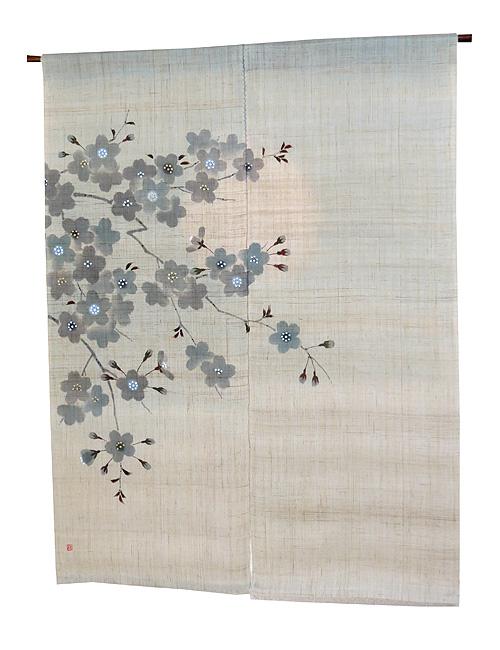 羅工房 暖簾(和風麻のれん)・宵桜(1点物)のれん棒別売り