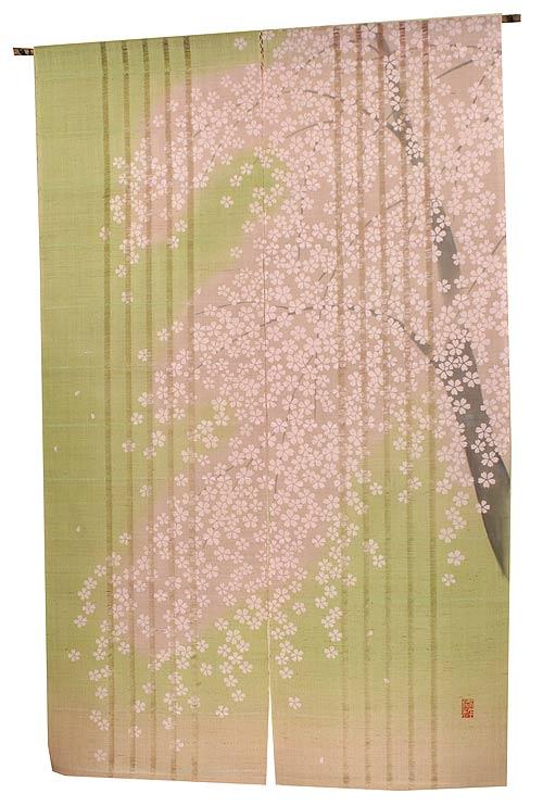 麻 和風 桜 のれん咲桜(麻暖簾)/ 京都 洛柿庵