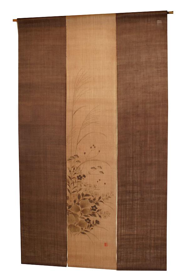 【廃番品特別価格】和風三枚暖簾(のれん):秋の七草柿渋染 / 秋 のれん