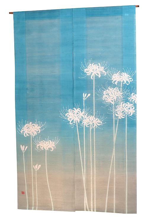 和風暖簾(のれん):白彼岸花/夏のれん