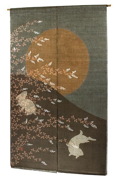 和風二重 のれん・月見うさぎ(暖簾)秋 のれん メーカー取り寄せ品