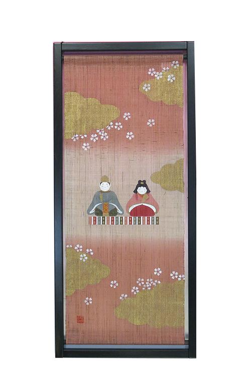 雛人形 ひな祭り /和風枠入りタペストリー・稚児雛 (雛祭り)/ 和モダン タペストリー