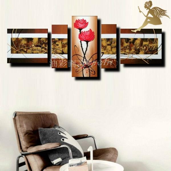 【絵画】【壁掛け】【手書き】【油絵】【抽象画】【絵】絵画 インテリア【送料無料】『モダン インテリア アートパネル』『5パネルSET 赤い花とモダンブラウン 1364』油絵 絵 抽象画【おしゃれ 壁掛けアート】