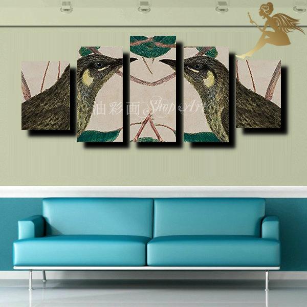 【絵画】【手書き】【壁掛け】【油絵】【絵】【動物画】絵画 インテリア【送料無料】『モダン インテリア アートパネル』『5パネルSET 鳥のカップル 1396』壁掛け 絵 リゾート インテリア【おしゃれ 壁掛けアート】