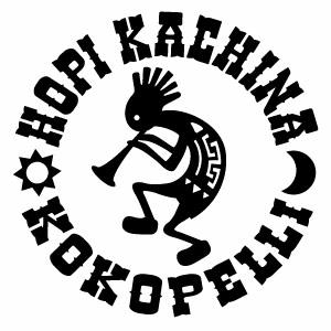 ホピ族の精霊ココペリモチーフ 防水転写ステッカー ホピカチーナ 25%OFF ココペリモチーフ HKKP 090 KOKOPELLIステッカー カッティングステッカー 正規認証品!新規格 ハンドメイド 2枚組 幅約16cm×高約16cm