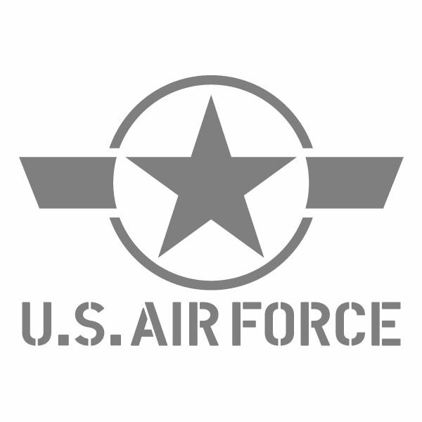 カーウインドウ用ディスプレイに インテリアに 再再販 [ギフト/プレゼント/ご褒美] U.S.A.F 094G 低認識型RNグレー 米空軍モチーフ 幅約18cm×高約12.6cm 2枚組 カッティングステッカー デカール アメリカ空軍イメージ ハンドメイド