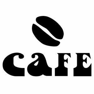 店舗や移動販売車の演出に CAFE IW カフェ Ver.024 カッティングステッカー 大判Lサイズ 幅約28cm×高約19cm 1年保証 ショップディスプレイ 新作続 店舗 2枚組 飲食店の演出に ハンドメイド