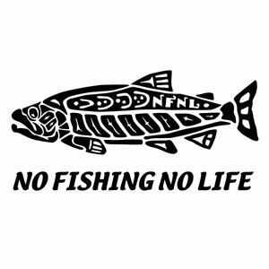 カーウインドウ用ディスプレイに インテリアに NO FISHING LIFE IDタッチ 保証 セットアップ Ver.026 3枚組 インディアンアートタッチ ハンドメイド カッティングステッカー 釣りステッカー 幅約12.5cm×高約6.1cm ミニサイズ