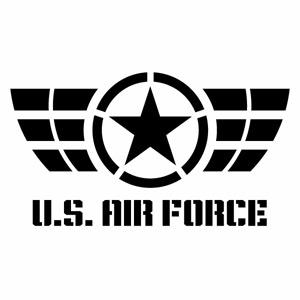 カーウインドウ用ディスプレイに インテリアに U.S. AIRFORCE ver.052 KSステンシル 中古 カッティングステッカー ハンドメイド 2枚組 大幅にプライスダウン アメリカ空軍 デカール アーミー 幅約19cm×高約10.5cm