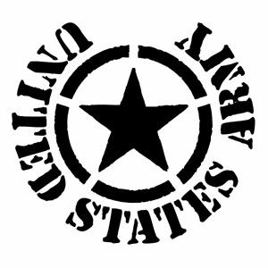 【UNITED STATES ARMY 44(腐食調) カッティングステッカー 大判Lサイズ 2枚組 幅約28cm×高約25.7cm】ハンドメイド デカール アメリカ軍 アーミー 米軍。