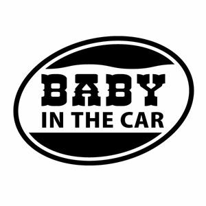 本日限定 格安 カーウインドウ用ディスプレイに インテリアに 赤ちゃんがいます Baby in the car 3枚組 Ver.09 ウエスタン調 ハンドメイド 幅約14cm×高約10cm ウインドウステッカー カッティングステッカー