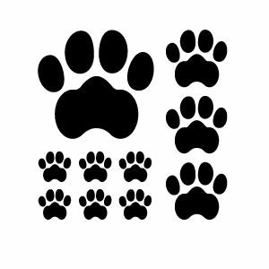 カーウインドウ用ディスプレイに 小物やインテリアに わんちゃん肉球 カッティングステッカー 大中小セット 2枚組 ワンちゃん 幅約18cm×高約18cm ドッグ 肉球 ハンドメイド 海外並行輸入正規品 犬 有名な