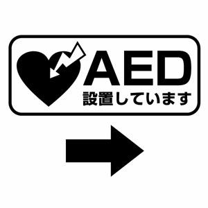 AED搭載車や AED設置場所の案内表示用に AED設置案内カッティングステッカー 大人気 業界No.1 ver.05 2枚組 AED設置場所に ※矢印付 ハンドメイド 幅約22cm×高約9.2cm