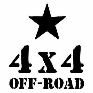 【4x4 OFF-ROAD 06(Bスター腐食調) カッティングステッカー 2枚組 大判Lサイズ 幅約23.5cm×高約27cm】ハンドメイド デカール。