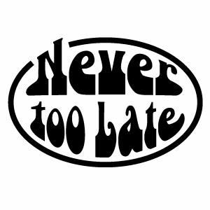 看板用カッティングシートで作る防水転写ステッカー Never too late 008 値下げ ネバートゥーレイト 贈答品 カッティングステッカー ミニサイズ デカール 3枚組 ハンドメイド 幅約10cm×高約6.7cm