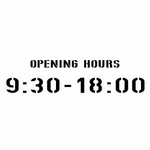 【カッティングステッカー OPENING HOURS(24H表示) 時間オーダータイプ012(SH) 大判Lサイズ 2枚組 幅約33cm×高7.8cm】営業時間サイン