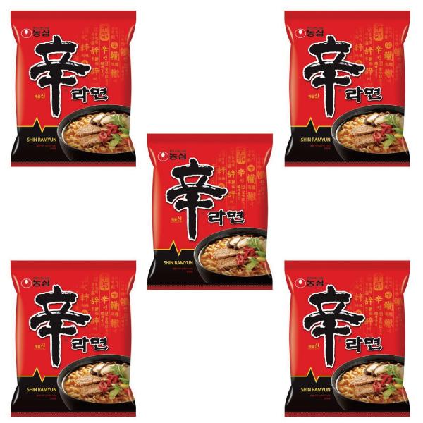 農心 韓国ラーメン インスタント麺 乾麺 韓国食品 【最安値挑戦】辛ラーメン 5食セット | うまからっ!でおなじみ、韓国ラーメンの定番