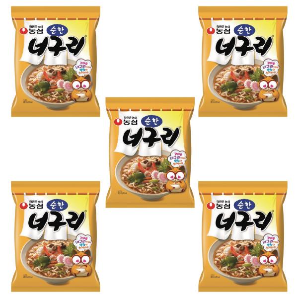 農心 韓国ラーメン 韓国うどん 乾麺 韓国食品 最安値挑戦 ノグリラーメン 甘口 高品質新品 5食セット 辛さ控えめ 小辛 マイルド 太めでもっちりしている麺が大人気 日本産 ノグリ ノグリうどん