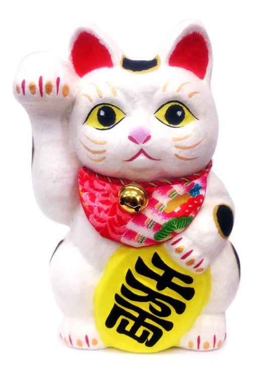 ちぎり和紙招き猫(大)6-461【リュウコドウ】【招き猫】【国産・日本製】【開運・縁起飾り】