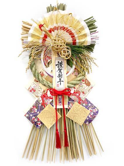 友禅和紙を贅沢に使った華やかなしめ飾り 鶴衣 与え つるごろも 国産魚沼しめ飾り お正月リース ランキング総合1位 お正月飾り お正月玄関