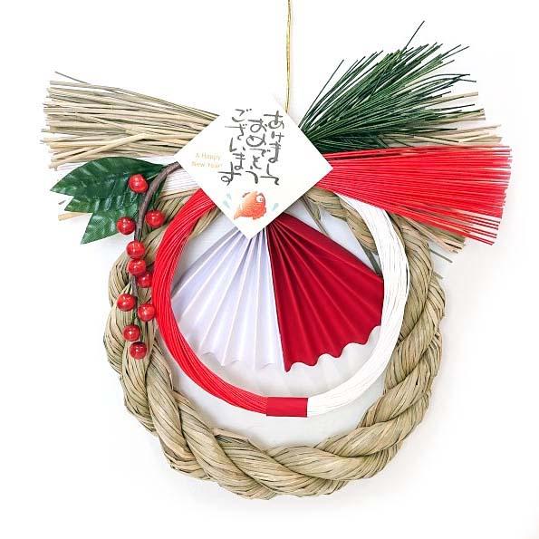 紅白のシンプルな正月リース飾り MUSUBI 彩 大放出セール 流行 むすび お正月玄関 お正月リース お正月飾り いろどり