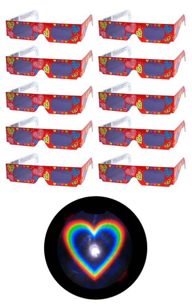 未使用 魔法のメガネをかけると……ハートマークいっぱいの愛あふれる世界 不思議メガネハートマーク10個セット キャンドルサービス 結婚式 披露宴 花火大会 夜景 イルミネーション デート ホロスペックメガネ 今ダケ送料無料