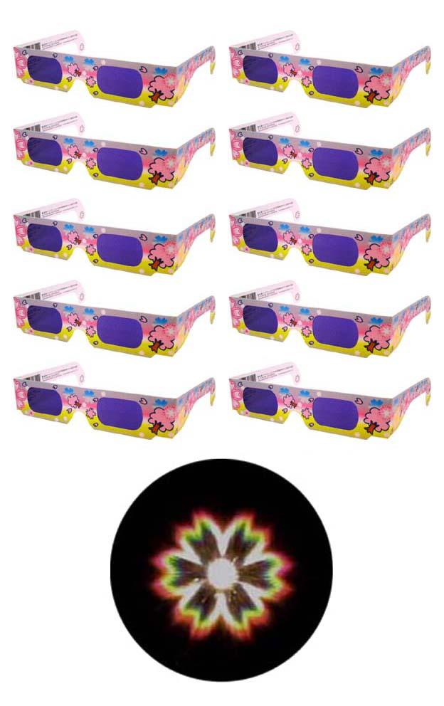 魔法のメガネをかけると……お花がいっぱい 不思議メガネ花マーク10個セット ホロスペックメガネ 格安 セール開催中最短即日発送 価格でご提供いたします キャンドルサービス