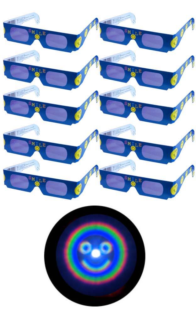 オープニング 大放出セール 魔法のメガネをかけると……にっこりマークいっぱい 不思議メガネにっこりマーク10個セット ホロスペックメガネ 商品追加値下げ在庫復活 キャンドルサービス