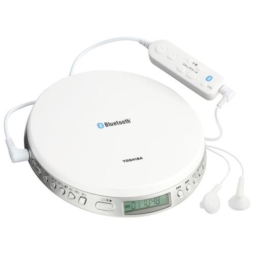 東芝 CDプレイヤー ブルートゥース付き カラー:ホワイト TY-P3  [TOHSIBA ポータブル CD プレーヤー 2電源対応 電源 AC コンセント 電池式 再生速度 レジューム クリップリモコン Bluetooth R]