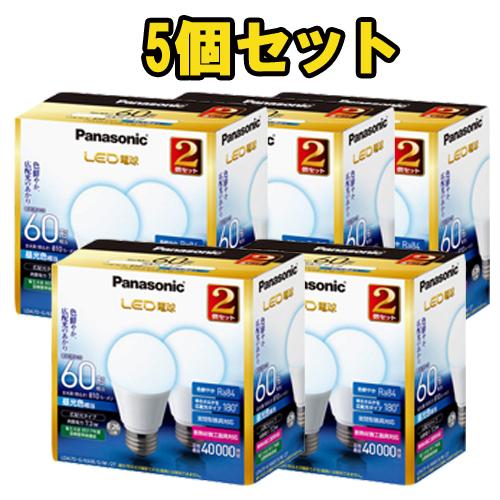 【送料無料】パナソニック LED電球 7.3W 2個入 昼光色相当 口金E26 広配光タイプ 5個セット LDA7DGK60ESW2T [Panasonic まとめ売り]