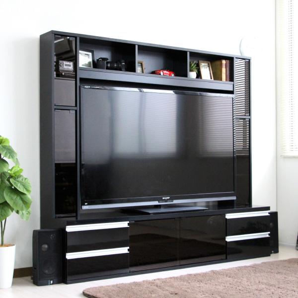 ゲート型TV台 180cm幅 鏡面 リビング壁面収納 60インチ対応 FS-15180BK 収納家具 テレビ台 ローボード使うお部屋を選ばないシンプルなデザイン!テレビ周りをすっきり!FS-15180 テレビ台 リビング収納 シンプル スタイリッシュ 60インチ 壁面収納
