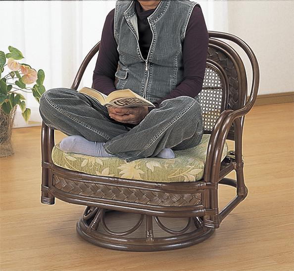 【300円OFFクーポン進呈中】籐 ワイドラウンドチェア 196 あぐらもかけるワイドタイプ! 回転籐椅子ワイド回転ローチェア回転いす一人掛け1p自然素材籐家具籐製座椅子南国アジアン北欧ラタン