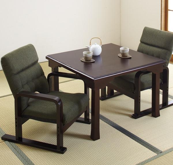 和卓テーブル+和卓用高座椅子 2脚組【すぐ使えるクーポン進呈中】和室にぴったりのテーブル&チェアのセット! 0332 テーブルセット 座卓 座椅子 和卓 高座椅子 和室 リクライニング 肘付き インテリア ダイニングテーブル