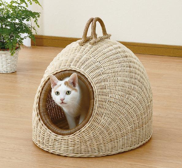 猫用品 キャリーバッグ・カート 籐 ペットハウス R-280かわいいドーム型!移動に便利な持ち手付!籐 ペットハウス R-280 R-280 サークル ケージ ハウス ベッド キャリー ペット用品 犬 猫 ラタン R-280