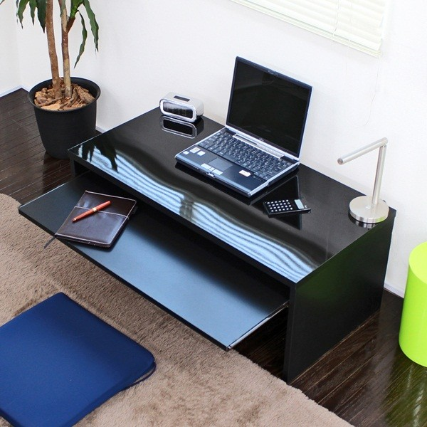 デスク パソコンデスク デスク スライドテーブル付 90cm幅 ローデスク 日本製光沢 ツヤがありきれいな仕上がりです♪日本製です FM107N-BK 幅90 デスク パソコンデスク 机 つくえ 作業台 デスク 収納 サイド ワゴン ブラック 幅90 デス