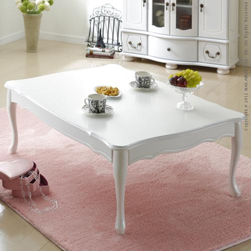 【ランキング1位獲得】折れ脚式猫脚テーブル Lisana〔リサナ〕105×75cm【すぐ使えるクーポン進呈中】純白色の上品なテーブル!猫脚が優雅でキュート♪ S0500668 シンプル センター リビング 机 座卓