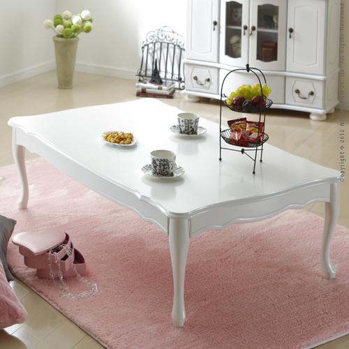 【ランキング1位獲得】折れ脚式猫脚テーブル Lisana〔リサナ〕120×75cm【すぐ使えるクーポン進呈中】純白色の上品なテーブル!猫脚が優雅でキュート♪ S0500669 シンプル センター リビング 机 座卓