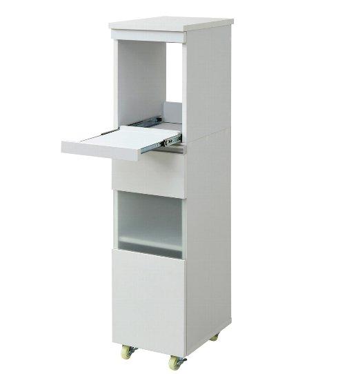 収納家具 キッチン収納 キッチン隙間収納 隙間ミニキッチンシリーズ キッチン 隙間収納 ラック 幅30 高さ127 奥行40デッドスペースを有効活用!便利なスライド棚とラックのハイタイプ収納 FKC-0003-WHDB FKC-0003-WH スリムラック すき間 キッチン 隙間家具 コンセント
