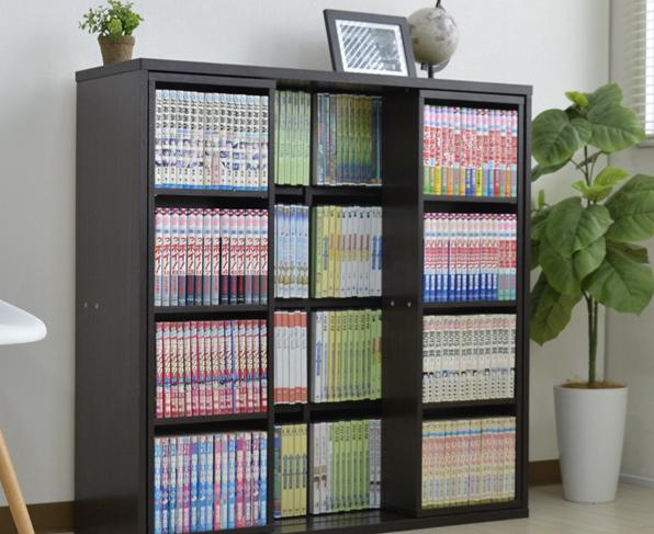 収納家具 本棚・ラック・カラーボックス 本棚 スライド 本棚 ダブルスライド 書棚 コミック DVD 収納 90cm幅 DSR-9028奥行き28.5cmのスペースに大容量の収納!DSR-9028 スライド 本棚 ダブルスライド コミック DVD 収納 90cm幅 ダークブラウン