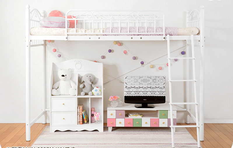 ロータイプにもなるエレガントロフトベッド 高さ135cm ベッド ベッドフレーム生活環境の変化に合わせて高さが3段階調節出来ます♪KH-3526M パイプベッド シングル ロフトベッド 子供部屋用 蓄光テープ 3段階調節