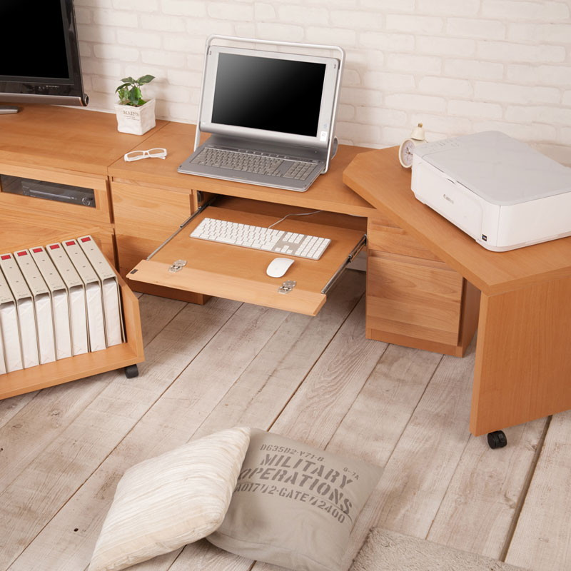 パソコンデスク幅120 ロー 回転盤付き デスク パソコンデスク木目の美しい北欧風天然木アルダー材のパソコンデスク TE-0150 TE-0151 アルダー 天然木 完成品 国産 幅120 PCデスク 北欧 ナチュラル パソコンデスク スライドテーブル キャスター付き 回転盤付き