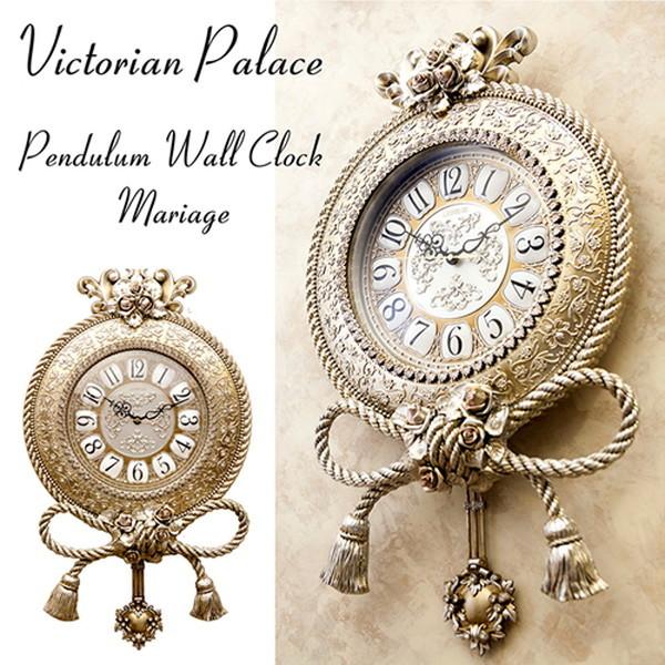 薔薇と化粧縄のモチーフのお洒落な壁掛け時計 116LS-WB8189KY-GD お洒落 上品 贈り物 掛け時計 アンティーク レトロ