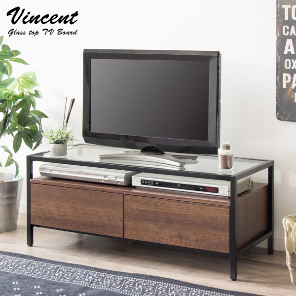 ガラストップテレビボード Vincent(ヴィンセント) 収納家具 テレビ台・ローボードTV-1040ガラス スタイリッシュ オープンスペース 収納 引き出し ブラウン