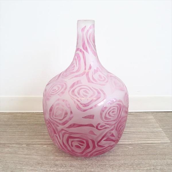 インテリア小物・置物 花瓶 丸型 花瓶(ガラス)涼しげなばら模様 ピンク0805GLS014 美しい 模様 涼しげ ガラス 花 デザイン 花瓶 一輪挿し