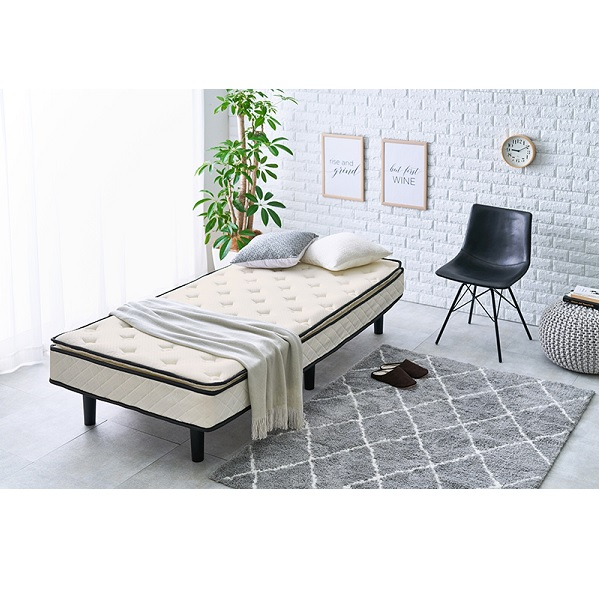 ポケットコイルマットレスベッド ベッド フレーム・マットレスセットKMB-3108 すのこ ハイグレード ベッド 寝具 ベット セット マットレス ベッド本体 通気性 簡単 組み立て 組立 収納 ホワイト グレイ