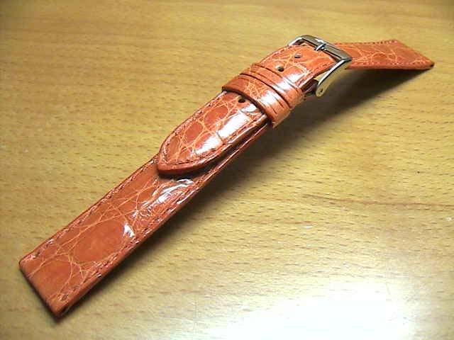 16mm時計バンド(腕時計)ベルト16ミリ クロコダイル (ワニ) 時計ベルト・バンド バネ棒サービス 16ミリ オレンジ 腕時計用 時計ベルト 時計用バンド 525円で販売していますバネ棒をサービスでお付けします。